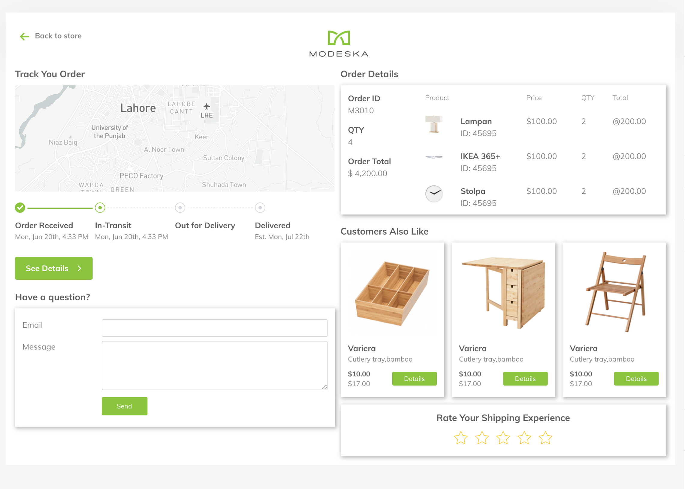 Non-branded order tracking page